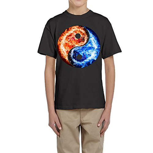 Price comparison product image Boss-Seller Ice Of Fire Yin Yang Tai Chi Logo Short Sleeve Tshirts For Teen-agers Size XL Black