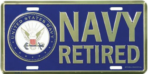 U.S. Navy Retired License Plate, Front Tag ()