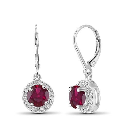 (1.35ctw Genuine Ruby Gemstone and White Diamond Accent Sterling Silver Halo Earrings)