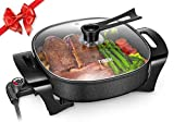 Electric Skillet Non Stick Electric Frying Pan with Standing Tempered Glass Lid, Family Sized 6 Quart, 3 Inch depth, Heat Resistant Handles, 1360W, 12