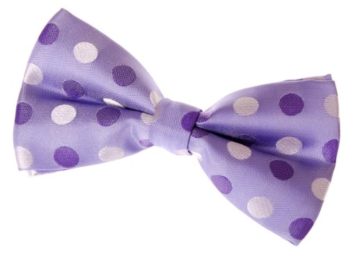 Retreez Two-Colour Polka Dots Woven Microfiber Pre-tied Bow Tie (Width: 5) - Purple with Purple Polka Dots