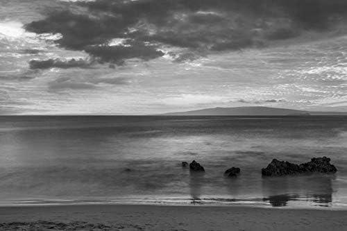 砂浜の壁紙で素晴らしい夕日-ビーチの壁紙-#38122 - 白黒の キャンバス ステッカー 印刷 壁紙ポスター はがせるシール式 写真 特大 絵画 壁飾り50cmx33cm