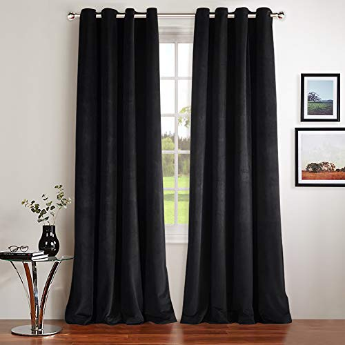 NICETOWN Luxury Velvet Blackout Window Treatment - Classic Velvet Woven Home Theater Ring Top Drapes (Set of 2, W52xL84-inch, Almond Jet Black)