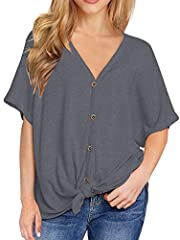 *IWOLLENCE Women's Waffle Knit Tunic Short Sleeve V Neck with Button Blouse Tie Knot Tops Bat Wing Plain Shirts *Material: Crochet plunge shirts, Polyester+Spandex. Breathable Crochet Fabric, Very Soft and Comfortable tops *Button(Can be unbu...