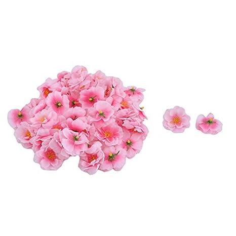 Amazon.com: eDealMax Flores artificiales Tela hogar de la boda de bricolaje Tabla Adorno de escritorio cabeza 50 piezas Rosa: Home & Kitchen