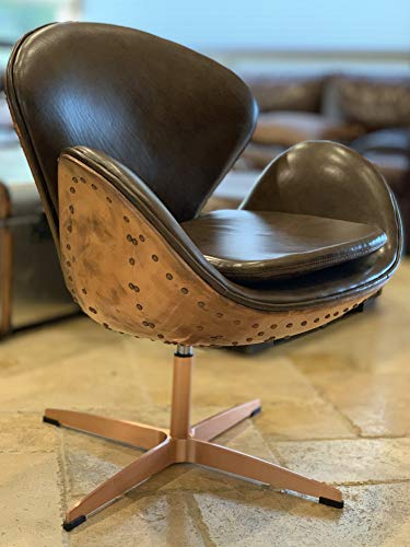 Hand Hammered Aviator Rose Gold Copper Mid Century Modern Classic Arne Jacobsen Style Swan Replica Chair with Premium Vintage Wax Brown Leather and Stainless Steel Frame