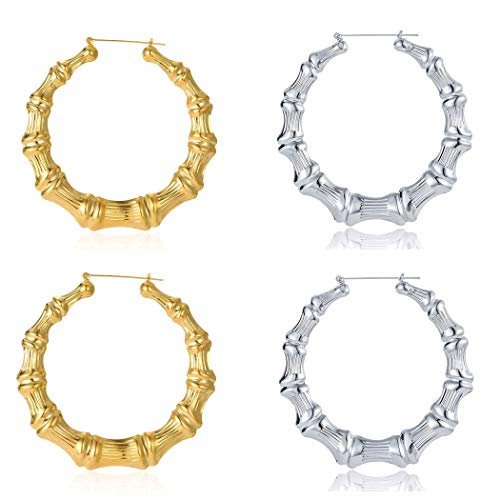 2 Pairs Large Bamboo Hoop Earring Hip-Hop Hollow Casting Statement Jewelry for Women Goldtone Silvertone Dia 65mm 2 Pair Hoop Earring