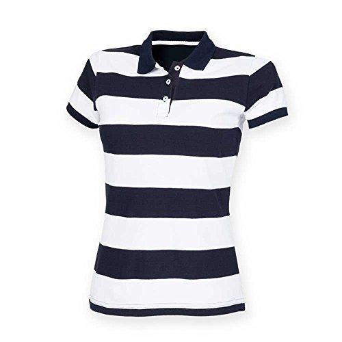 Polo Striped Navy Pique Front Row Womens Shirt White wIqvAFx
