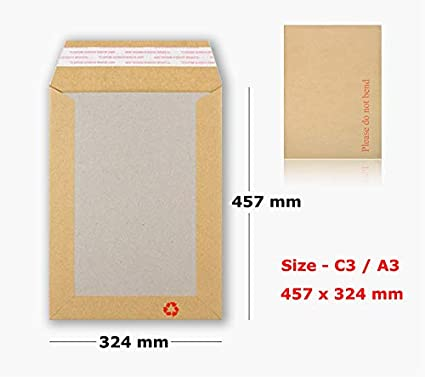 10 x C3 A3 BOARD BACK BACKED ENVELOPES 457x324mm PIP