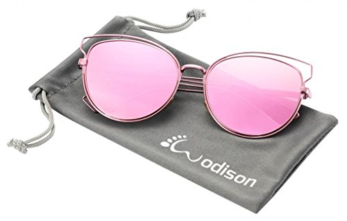 WODISON UV400 Reflective Mirror Lens Hollow Metal Frame Cat Eye Polarized Sunglasses for Women Pink - American Eyeglass Frames Made