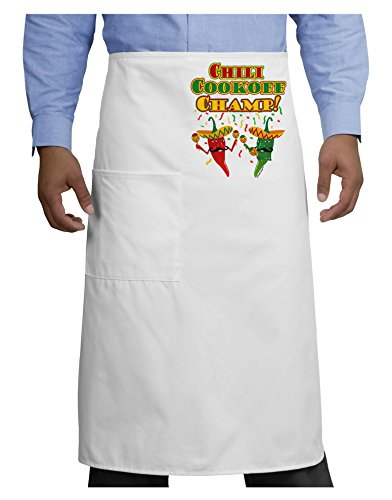 Uniform Champ (TooLoud Chili Cookoff Champ! Chile Peppers Adult Bistro Apron - White - One-Size)