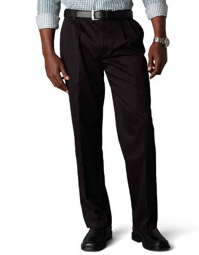 Dockers Men's Classic Fit Signature Khaki Pant - Pleated D3, Black (Cotton)-Discontinued, 42W x 32L by Dockers