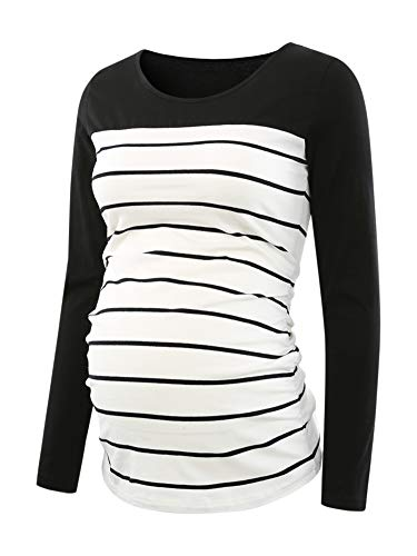 - Ecavus Women's Maternity Tunic Tops Clothes Flattering Side Ruching Pregnancy T-Shirt Black Stripe Colorblock X-Large