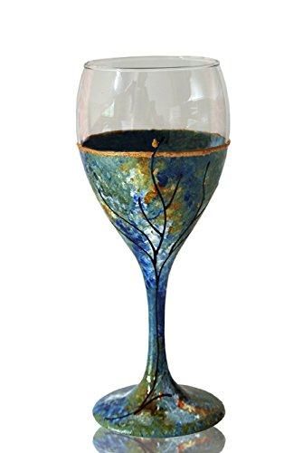 Sand and Water Creations in Glass Kiddush Cup Wine Glass Hand Painted Green Blue Ocean Inspired Tree of Life