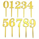 WEFOO Gold Acrylic Numbers 0-9 Cake Toppers Table Numbers Set of 10 for Wedding Anniversary Birthday Baby Shower Party Decorations