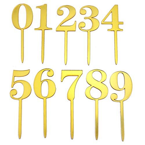 IDS Gold Acrylic Numbers 0-9 Cake Toppers Table Numbers Set of 10 for Wedding Anniversary Birthday Baby Shower Party Decorations -