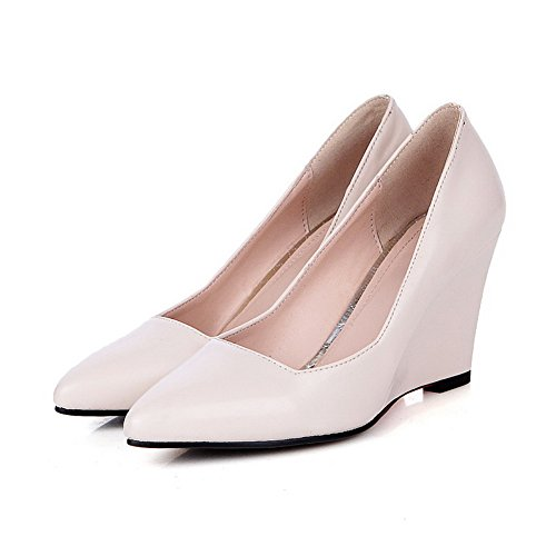 shoes enfiler pumps Beige cuir à femme pointed imitation toe balamasa pour wtzZ44