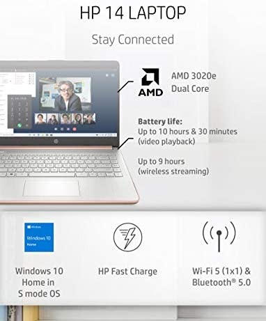HP - 14-fq0060nr 14 Laptop, AMD 3020e, 4 GB RAM, 64 GB eMMC Storage, 14-inch HD Touchscreen, Windows 10 Home in S Mode, Long Battery Life, Microsoft 365, (14-fq0060nr, 2020) Pale Rose Gold WeeklyReviewer