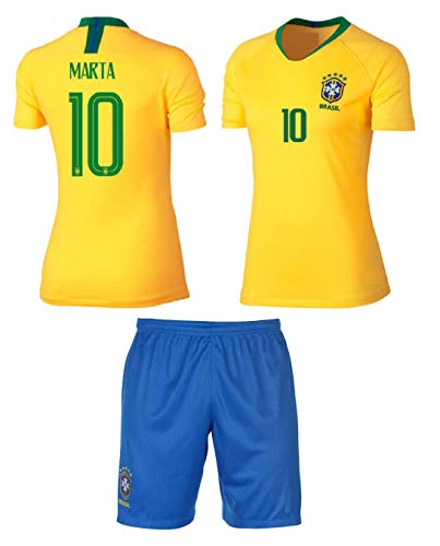 861d487535f Brazil Marta  10 Girls Soccer Jersey Home Short Sleeve Kit Shorts Youth  Sizes Gift Set (YM 8-10 Years