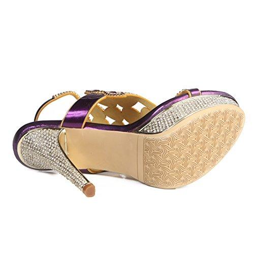 Mujeres Nvxie Purple Mid High Zapatos Heel Tamaño Party Diamante Señoras Low Sandalias Strappy Prom dqqOxraw