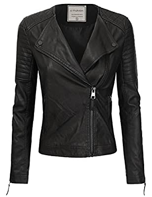 JJ Perfection Women's Long Sleeve Classic Ribbed Faux Leather Jacket