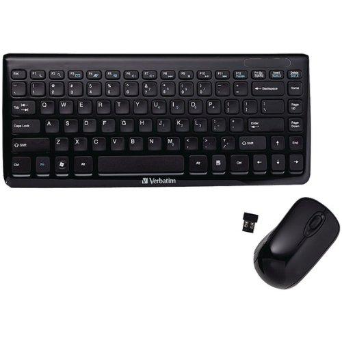 VER97472 - Verbatim Wireless Mini Slim Keyboard and Optical Mouse - Black