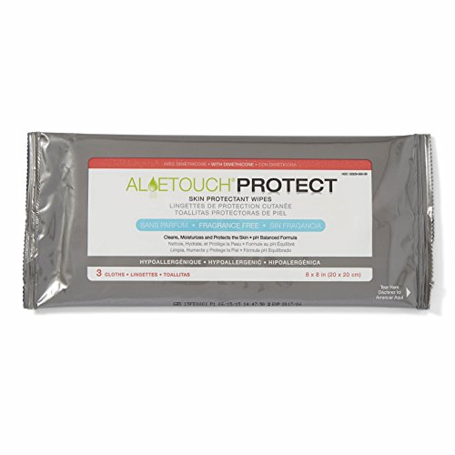 Medline AloeTouch Protect Skin Protectant Cleansing Cloth Wipes, 216 Count, with Dimethicone, Unscented, 8 x 8 inch Adult Incontinence Wipes