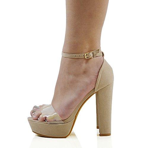 ESSEX GLAM Sintético Sandalias de suela gruesa con tacón alto cruadrado y plataforma transparente con tira al tobillo Desnudo Gamuza Sintética