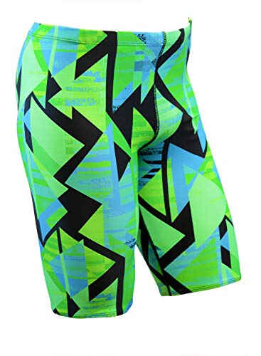 Adoretex Boy's/Men's Printed Pro Athletic Jammer Swimsuit Swim Shorts (MJ014) - Green Combo - 34