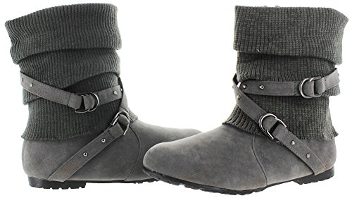 K Slouch Cross Womens Stores and Knitted Suede Boots Strap Ankle USA Gray Buckles qrqagA