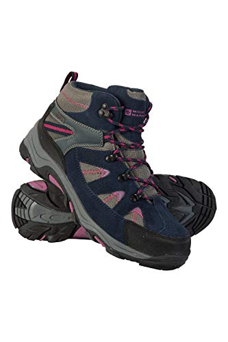 Mountain Warehouse Rapid Womens Waterproof Boots -Suede & Mesh Upper Walking Shoes, Durable Shoes, Rubber Outsole Ladies Hiking Boots – for Travelling, Camping Berry Womens Shoe Size 5 UK