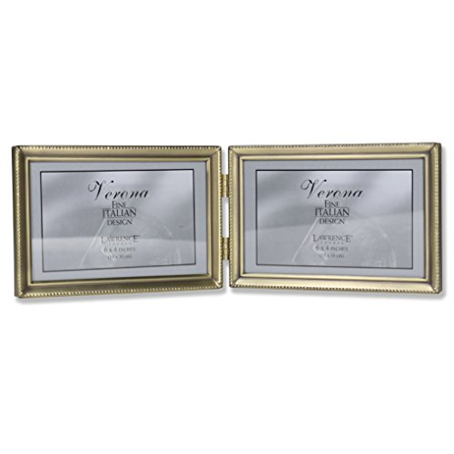 Lawrence Frames Antique Brass 4x6 Hinged Double Horizontal