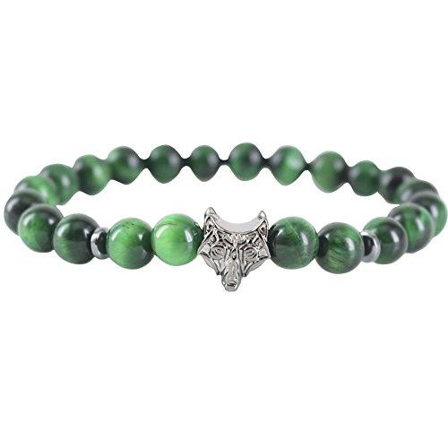Green Tiger eyes Jasper Stones Rhodium Black Wolf Bracelets Bohemia Style (green tiger eyes) (Designer Style Tiger Eye)