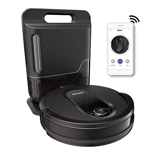 Shark IQ R101AE with Self-Empty Base, Wi-Fi Connected, Home Mapping, Works with Alexa, Ideal for Pet Hair, Carpets, Hard Floors Robot Vacuum (RV1001AE), 30 Session Capacity, Black