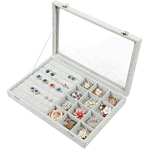 Stylifing Jewelry Tray Showcase Display Storage Organizer Box Vintage Case Multi-Function Gray Velvet & Clear Lid with Lock (2 in 1)
