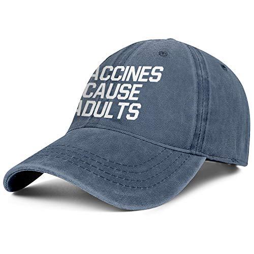 (Vaccines Cause Adults Men's Womens Denim Trucker Cap Adjustable Snapback Beach Hat)