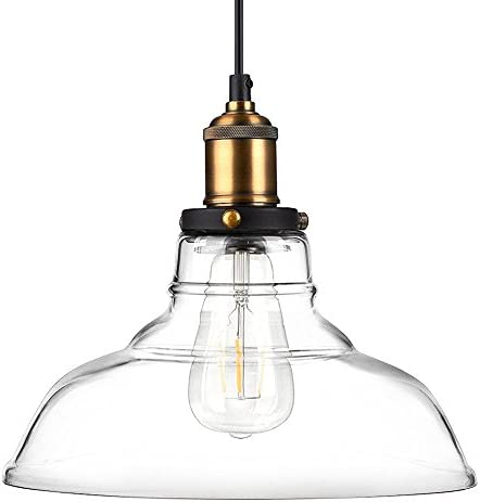Newhouse Lighting GHPENKIT Rustic Vintage Edison Style 1 Pendant Glass Hanging Light Kit, Clear