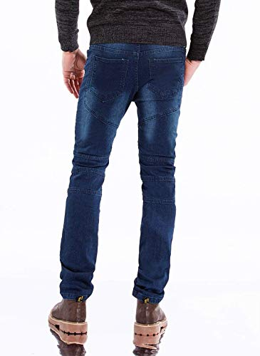 Jeans Casual Strappati Da Uomo Distrutti Moderna Vintage Slim Moda Denim Stretch Fit Dunkelblau Pantaloni zrzw0qA
