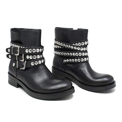 Bassi Biker Stivali 0448 Personal Vera Stivaletti In Borchie Italy Donna Boots Cinturini Shoepper Pelle Con Made Nero qWSqBnX