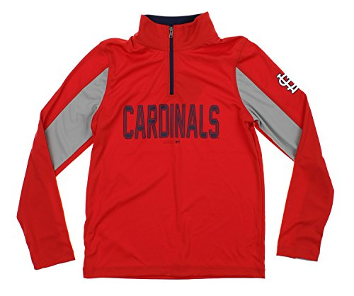 Outerstuff MLB Youth Boys 1/4 Zip Performance Long Sleeve Top, St Louis Cardinals, - Long Louis Sleeve Cardinals