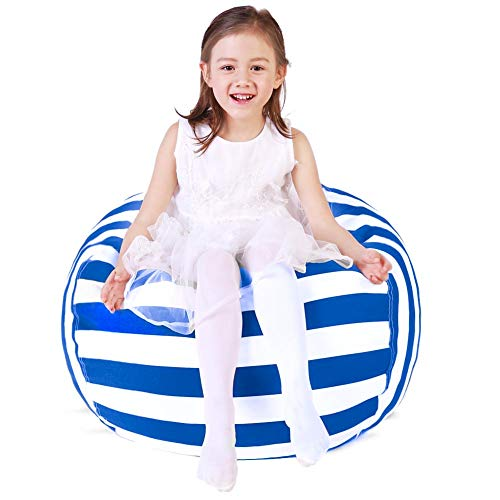 Stuffed Animal Storage Bean Bag Chair, Bean Bag Cover for Organizing Kid's Room . Fits a Lot of Stuffed Animals, Large/Blue Stripe   ()