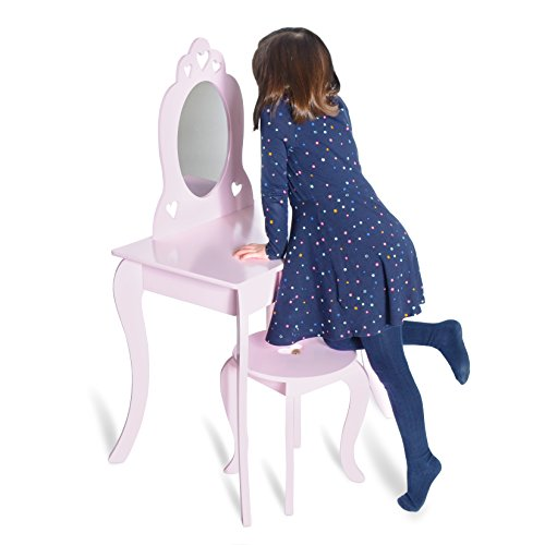 Milliard Kids Vanity Makeup Table and Chair Set, Pretend Beauty Make Up Stool Play Set for Children, Pink with (Mirror Stool)