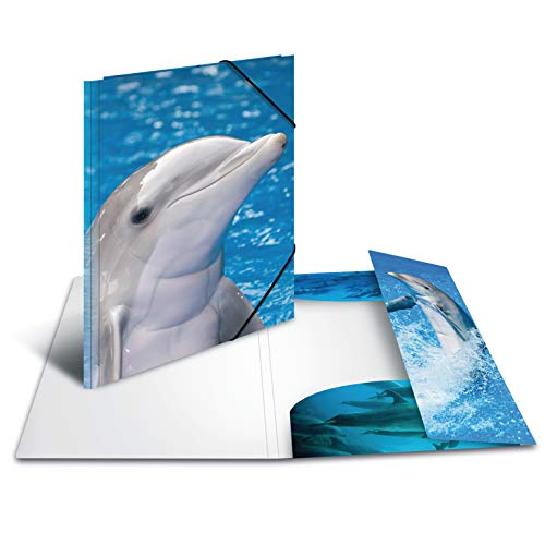 Herma 7146 Sammelmappe A3 Plastic, Series with Dolphin Motif, with Elasticated Corners, Pack of 1 ()