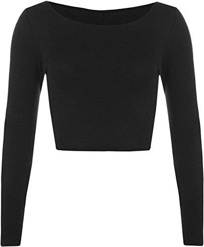 WearAll Women's Crop Long Sleeve Ladies Plain T-Shirt Top - Black - US 8-10 (UK 12-14)