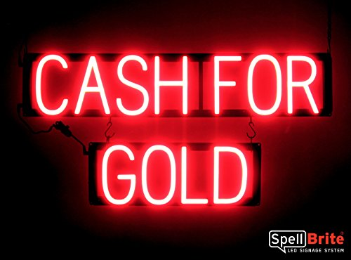 SpellBrite Ultra-Bright CASH FOR GOLD Sign Neon-LED Sign (Neon look, LED performance)