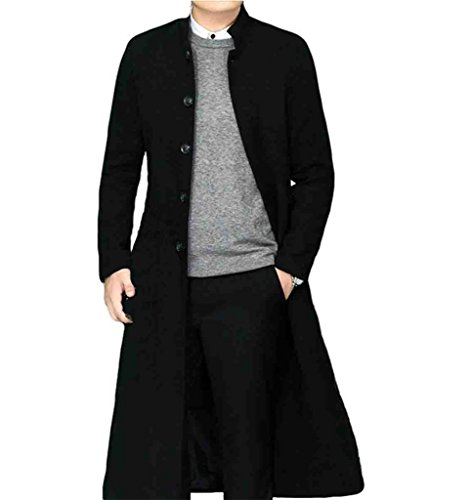 Men's Stand Collar Single Breasted Long Walking Coat Woolen Overcoat