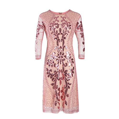 Fartido Women's Sequined Dress Inspired Sequins Beads Long Tassel Inserts Dress Pink