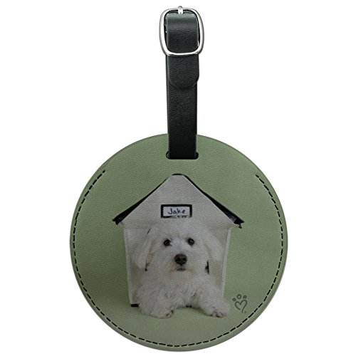 Bichon Frise Maltese Puppy Dog in House Round Leather Luggage Card ID Tag (Leather Bichon Frise Luggage Tag)