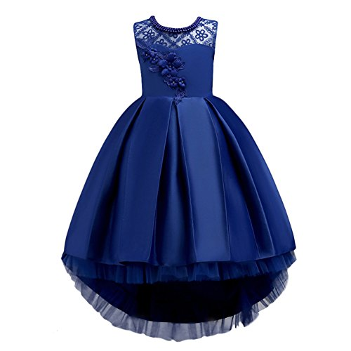 IBTOM CASTLE Cute Blue Off The Shoulder Pageant Dresses Bowknot High Low Flower Girls Dresses for Wedding Royal Blue 14-15 Years
