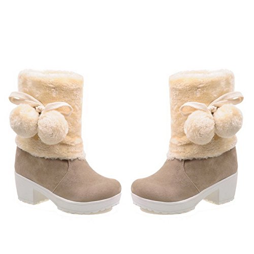 Amoonyfashion Womens Flock Bas-dessus Solide À Enfiler Kitten-heels Bottes Beige